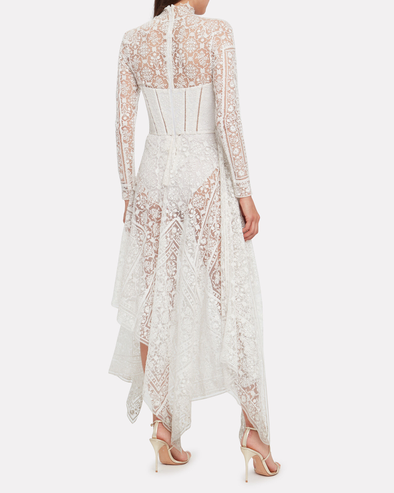 Embroidered Lace Bustier Dress, WHITE, hi-res