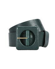 Agnes Lizard-Embossed Square Buckle Belt, TEAL, hi-res