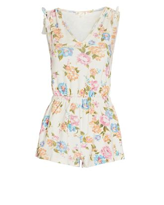 Bascom Sleeveless Floral Terry Romper, IVORY/BLUE/PINK, hi-res