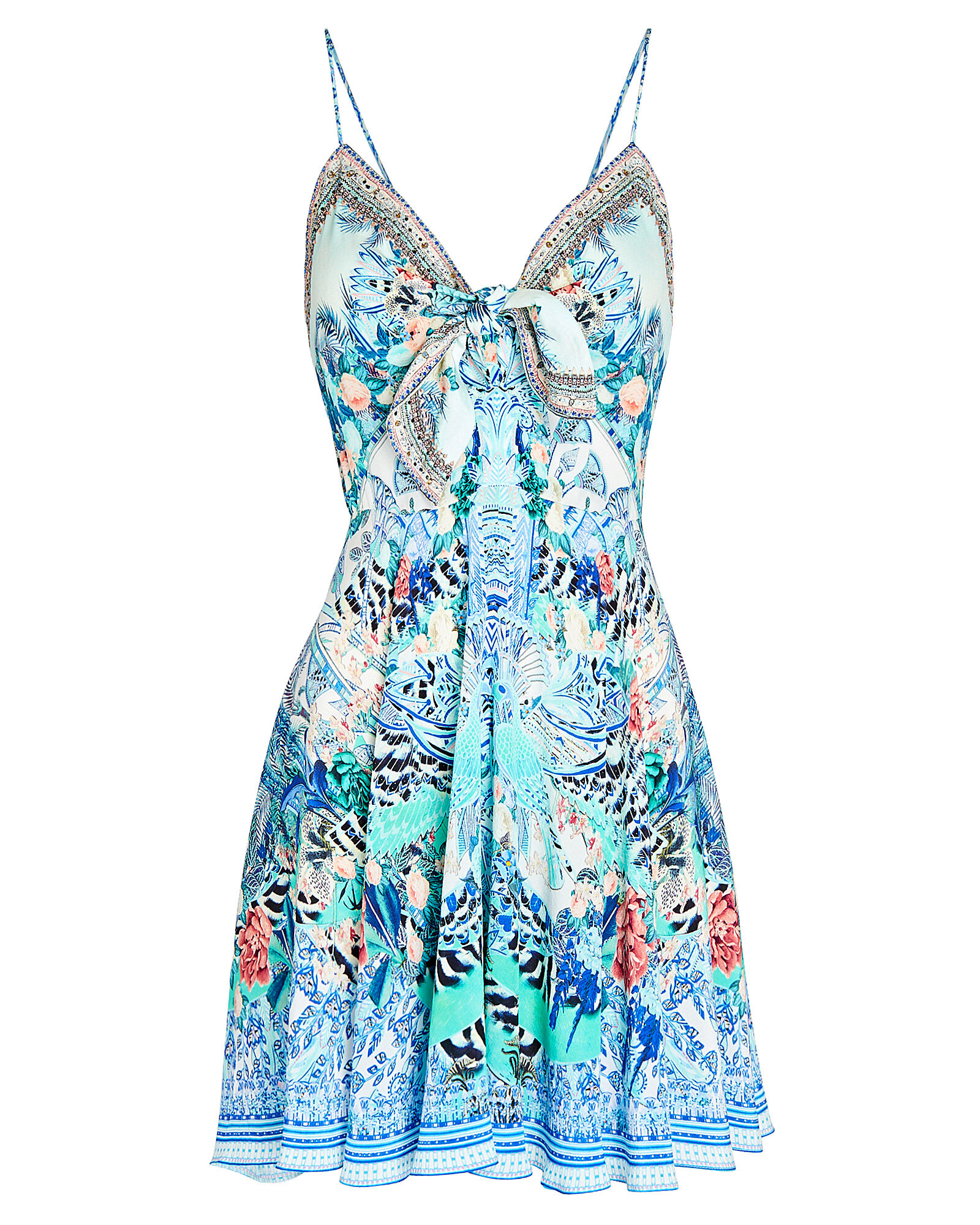 Printed Silk Mini Dress, BLUE, hi-res