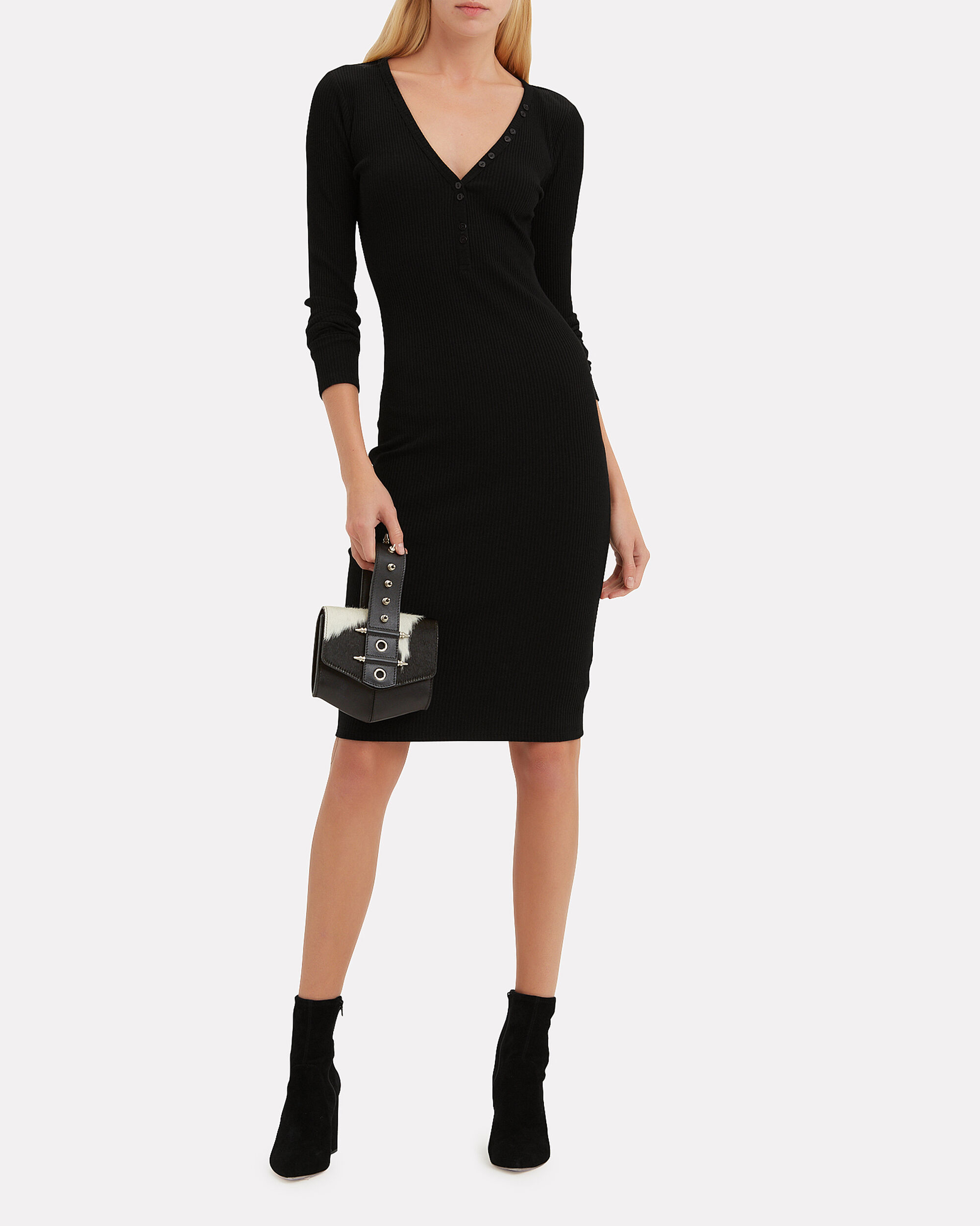 Molly Button Front Ribbed Dress, BLACK, hi-res