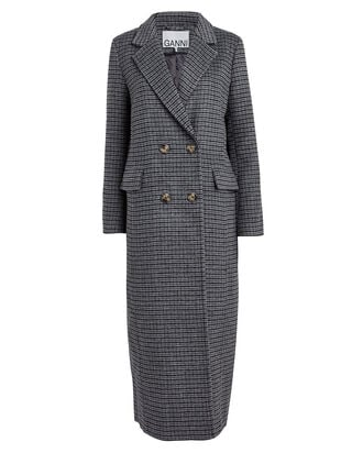 Charcoal Check Wool-Blend Trench Coat, CHARCOAL/CHECK, hi-res