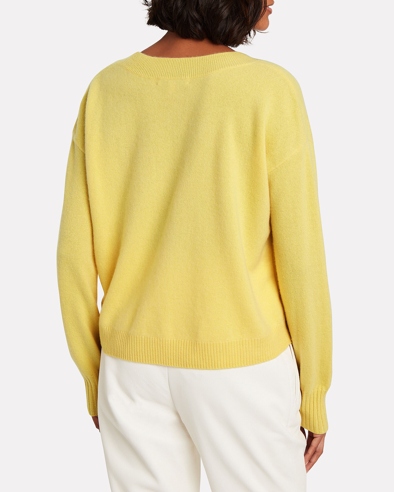 Elroy V-Neck Cashmere Sweater, YELLOW, hi-res