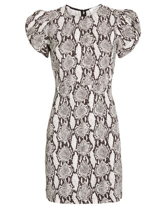 Brinley Puff Sleeve Mini Dress, GREY/PYTHON, hi-res