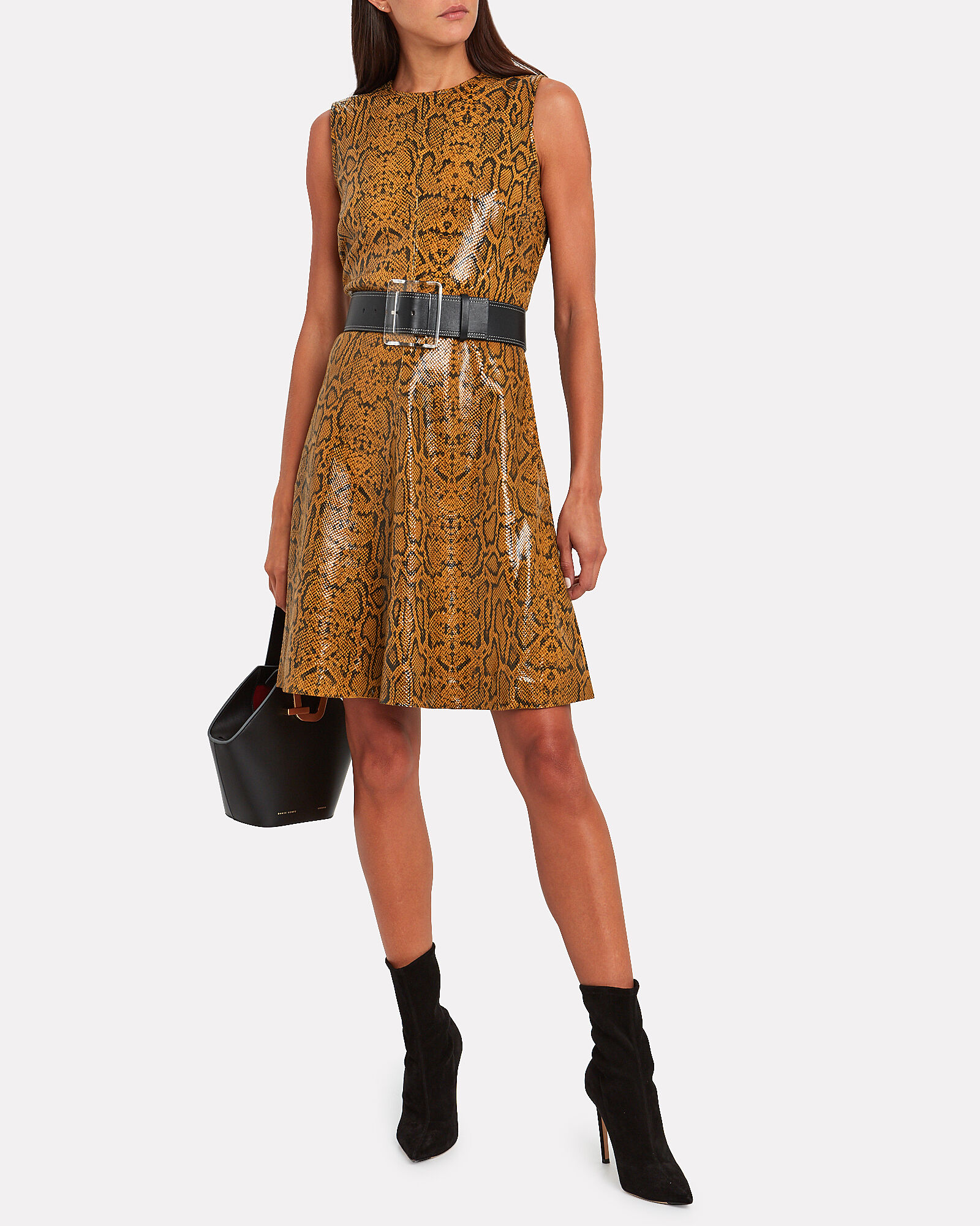 Mercy Snake-Embossed Leather Dress, MULTI, hi-res