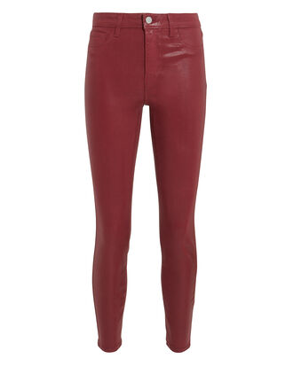 Margot Berry Coated High-Rise Ankle Skinny Jeans, DARK RED, hi-res