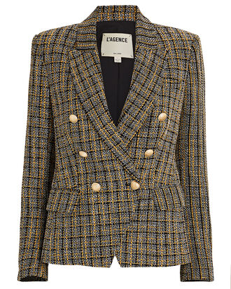 Kenzie Double-Breasted Tweed Blazer, BLACK/WHITE/YELLOW, hi-res