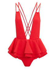 Pampas Ruffle Skirt One Piece Swimsuit, RED, hi-res