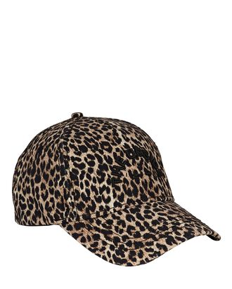 Leopard Print Cotton Baseball Cap, BEIGE/BLACK, hi-res