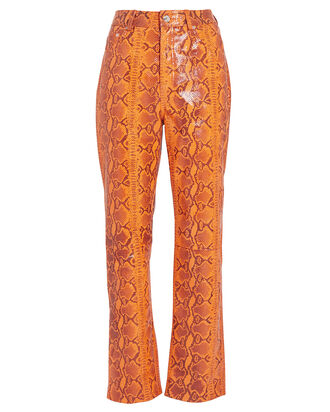 Shiloh Snake Print Leather Pants, ORANGE/PYTHON, hi-res