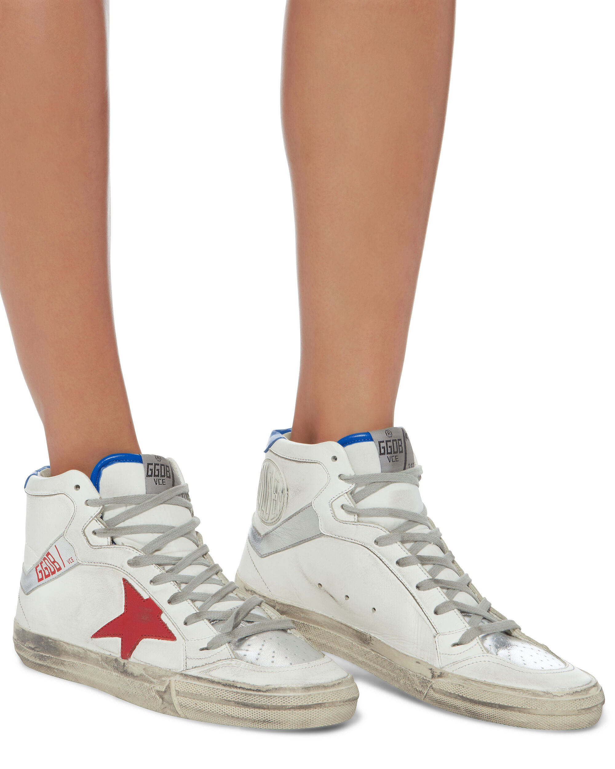 2.12 High-Top Red Star Leather Sneakers, WHITE, hi-res