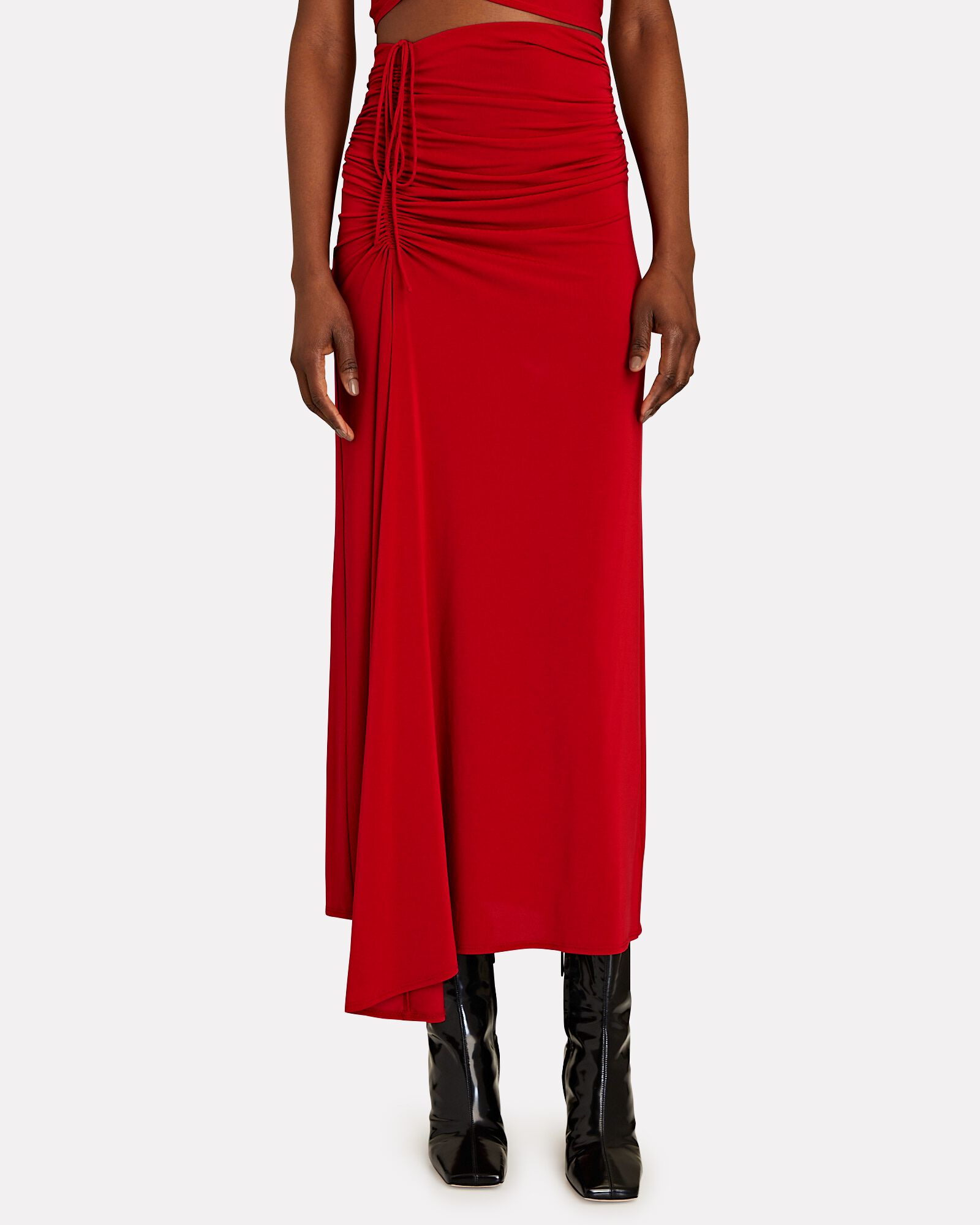 Orly Ruched Midi Skirt, RED, hi-res