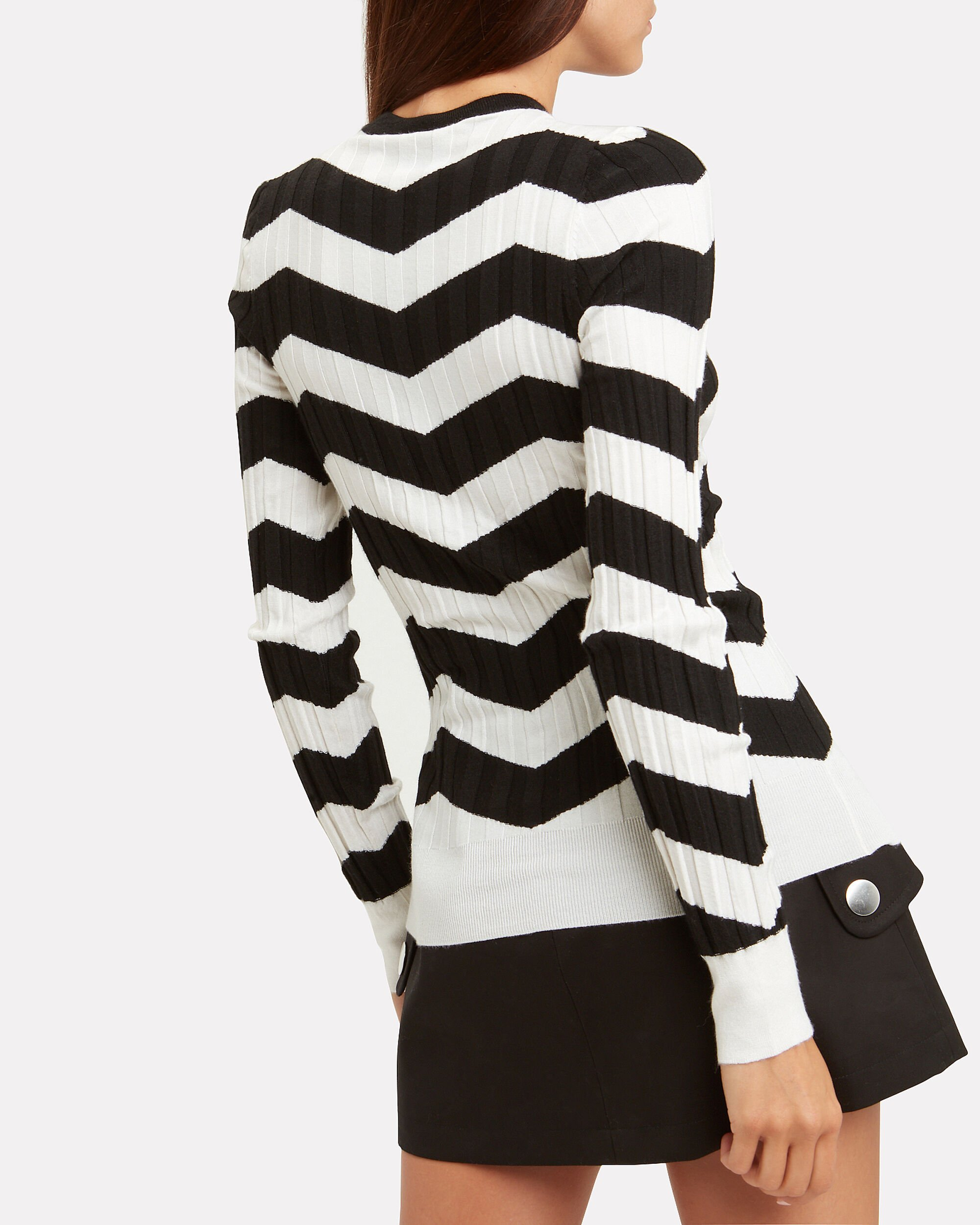 Ribbed Chevron Sweater, BLK/WHT, hi-res
