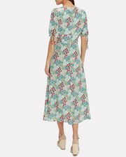 Nessa Printed High-Low Dress, TURQUOISE FLORAL, hi-res
