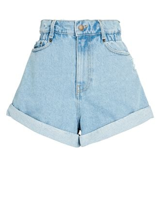 Haisley High-Rise Denim Shorts, LIGHT LAGUNA, hi-res