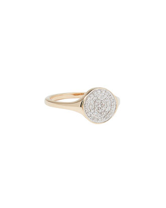 Large Solid Pavé Disc Signet Ring, GOLD, hi-res