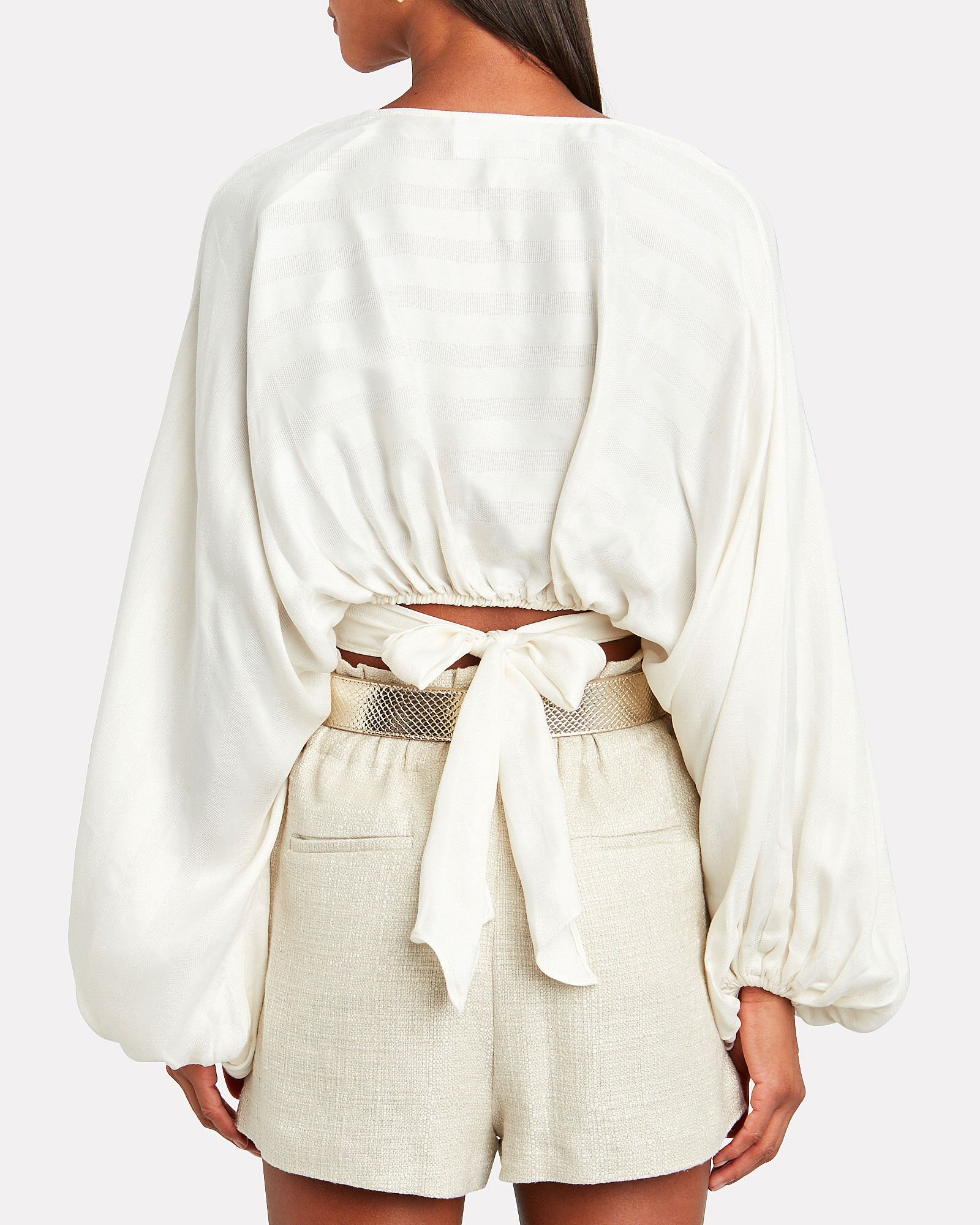 Voyager Striped Wrap Blouse, IVORY, hi-res