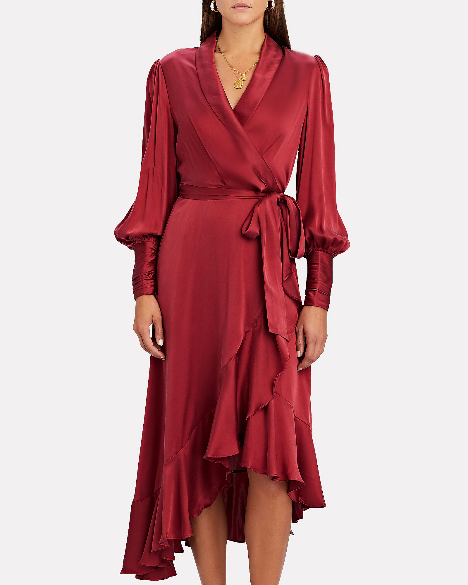 Silk Midi Wrap Dress, RED, hi-res