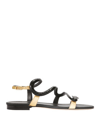 Manila Serpent Flat Sandals, BLACK, hi-res