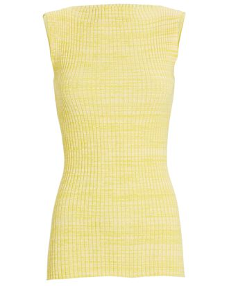 Sleeveless Boat Neck Knit Top, YELLOW, hi-res