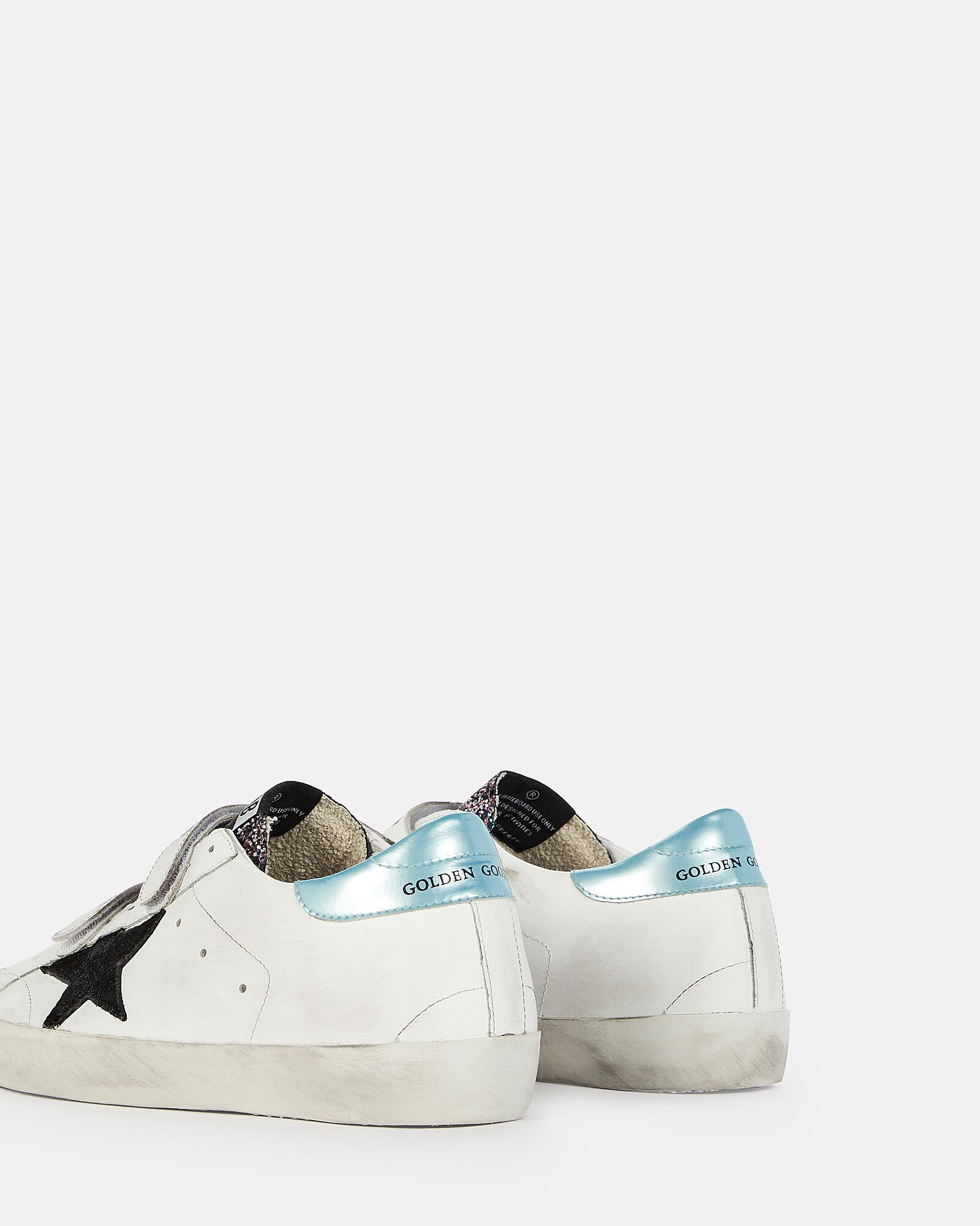 Old School Velcro Leather Sneakers, WHITE, hi-res