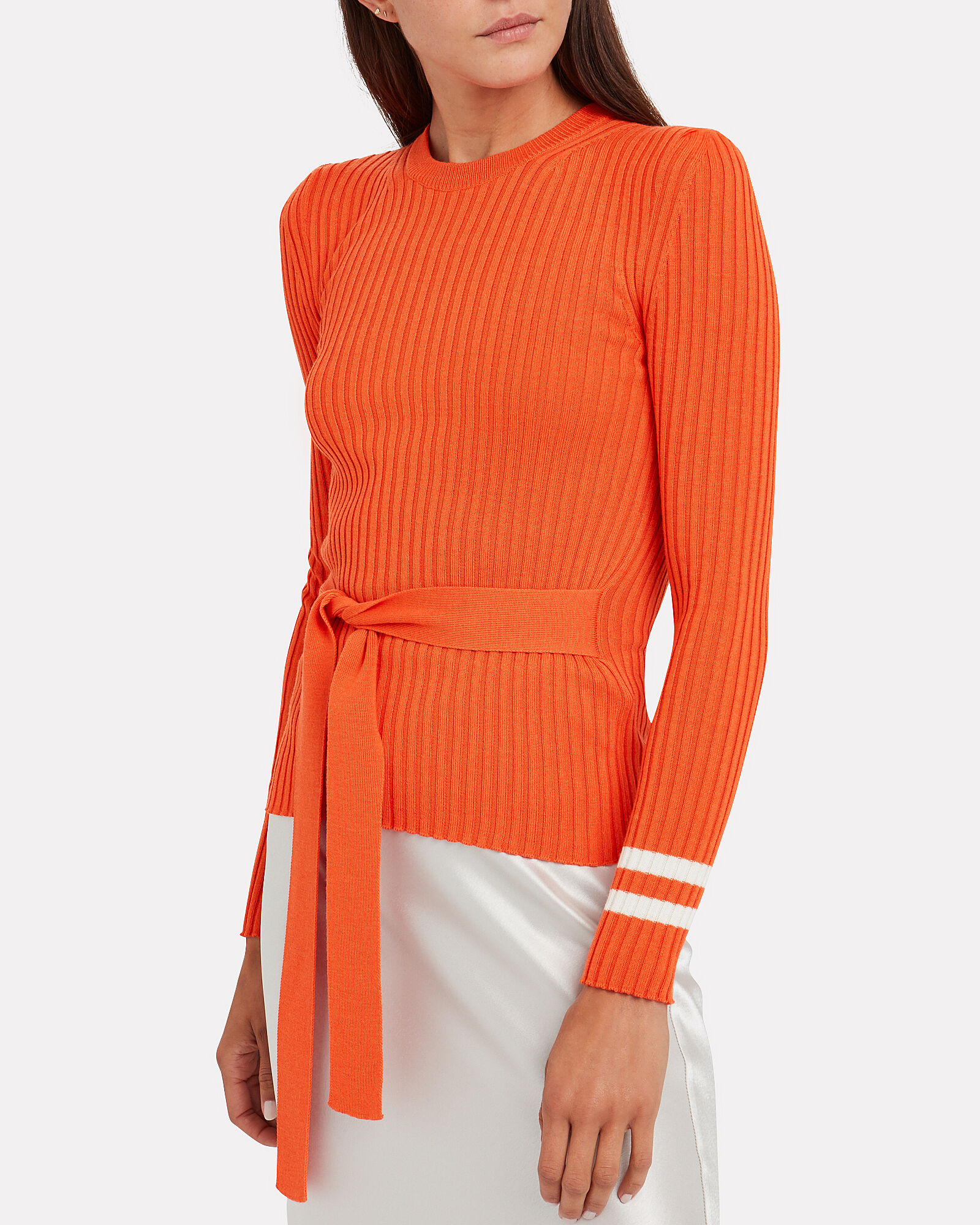 Nearly There Belted Wool Sweater, ORANGE, hi-res