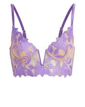 Lily Lace Long Line Demi Bralette, PURPLE-LT, hi-res