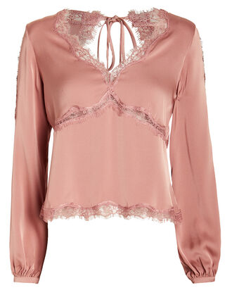 Cassie Lace-Trimmed Silk Blouse, PINK, hi-res