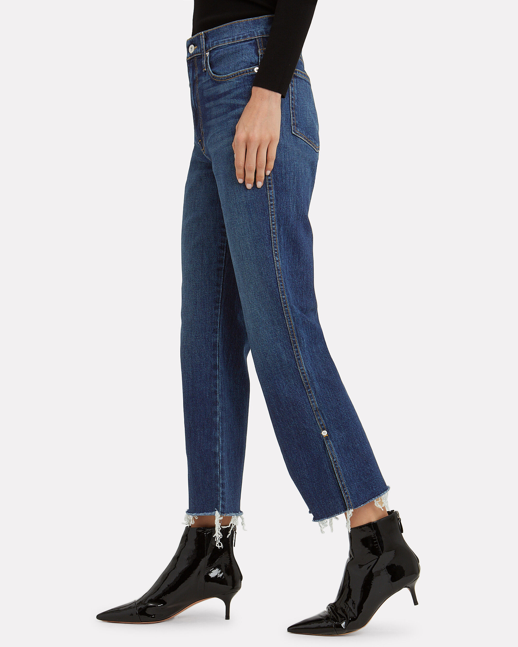 High-Rise Cropped Jeans, DARK BLUE DENIM, hi-res