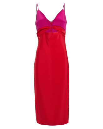 Twisted Colorblock Silk Dress, RED, hi-res