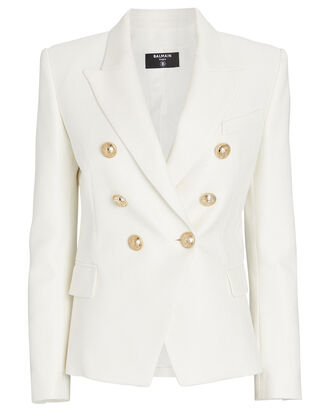 Double-Breasted Piqué Blazer, WHITE, hi-res