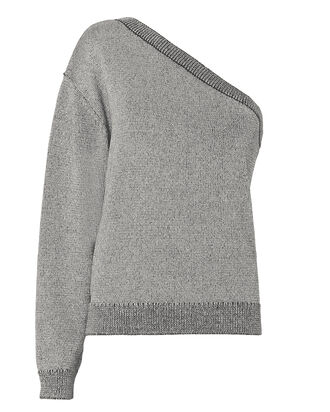 Goldie One Shoulder Sweater, GUNMETAL, hi-res