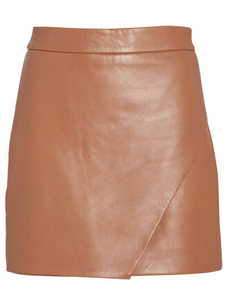 Leather Wrap Mini Skirt, CAMEL, hi-res