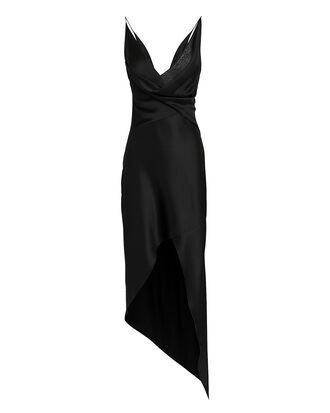Black Wraparound Midi Dress, BLACK, hi-res