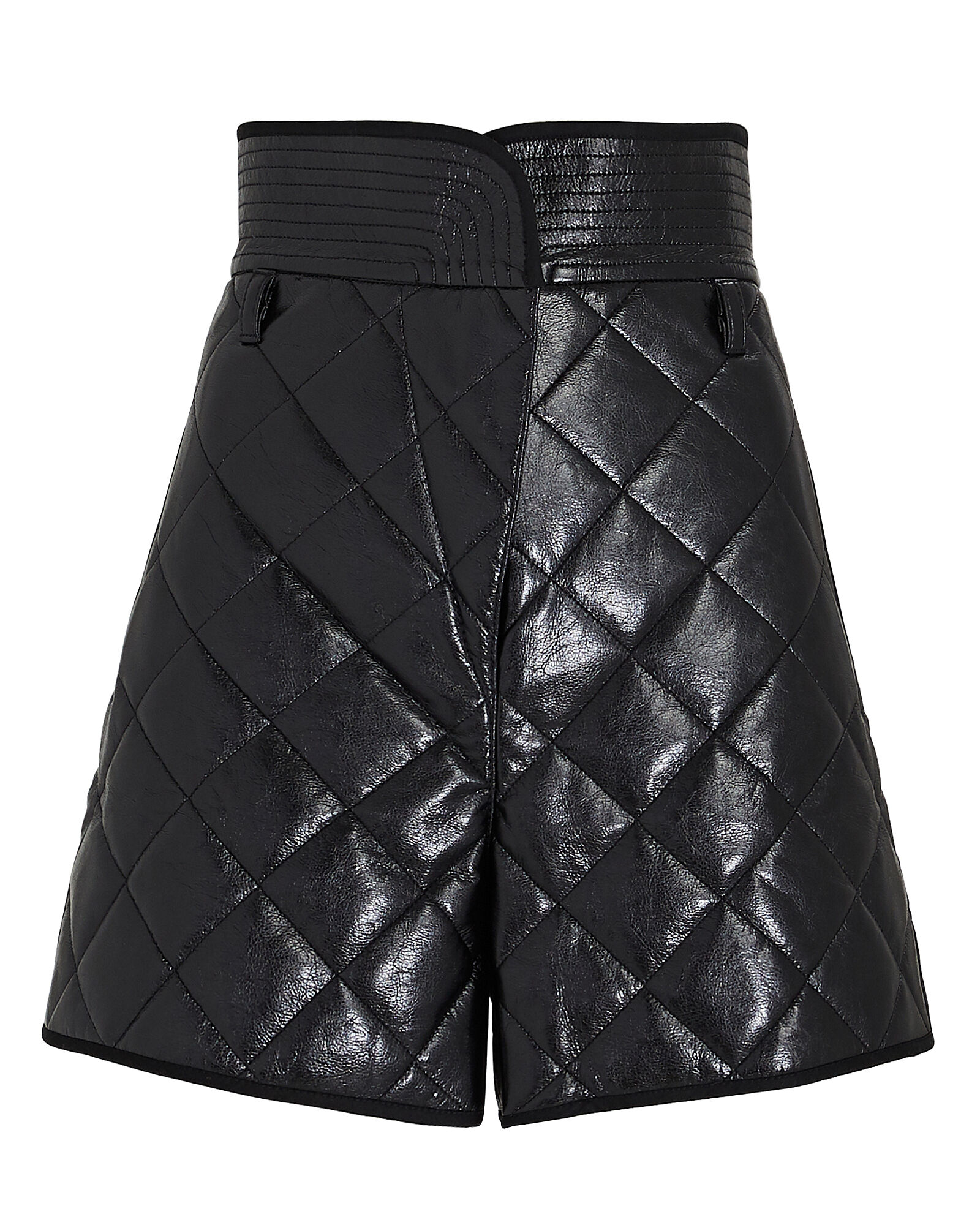 Quilted Paperbag Faux Leather Shorts, BLACK, hi-res