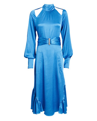 Calypsa Satin Midi Dress, BLUE, hi-res