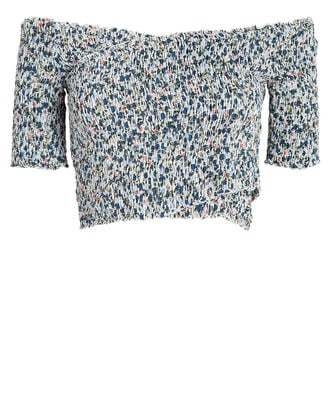 Soledad Off-the-Shoulder Crop Top, POWDER BLUE FLORAL, hi-res