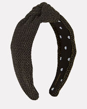 Metallic Knotted Headband, BLACK, hi-res