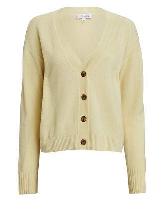 Roya Cashmere Cardigan, LIGHT YELLOW, hi-res