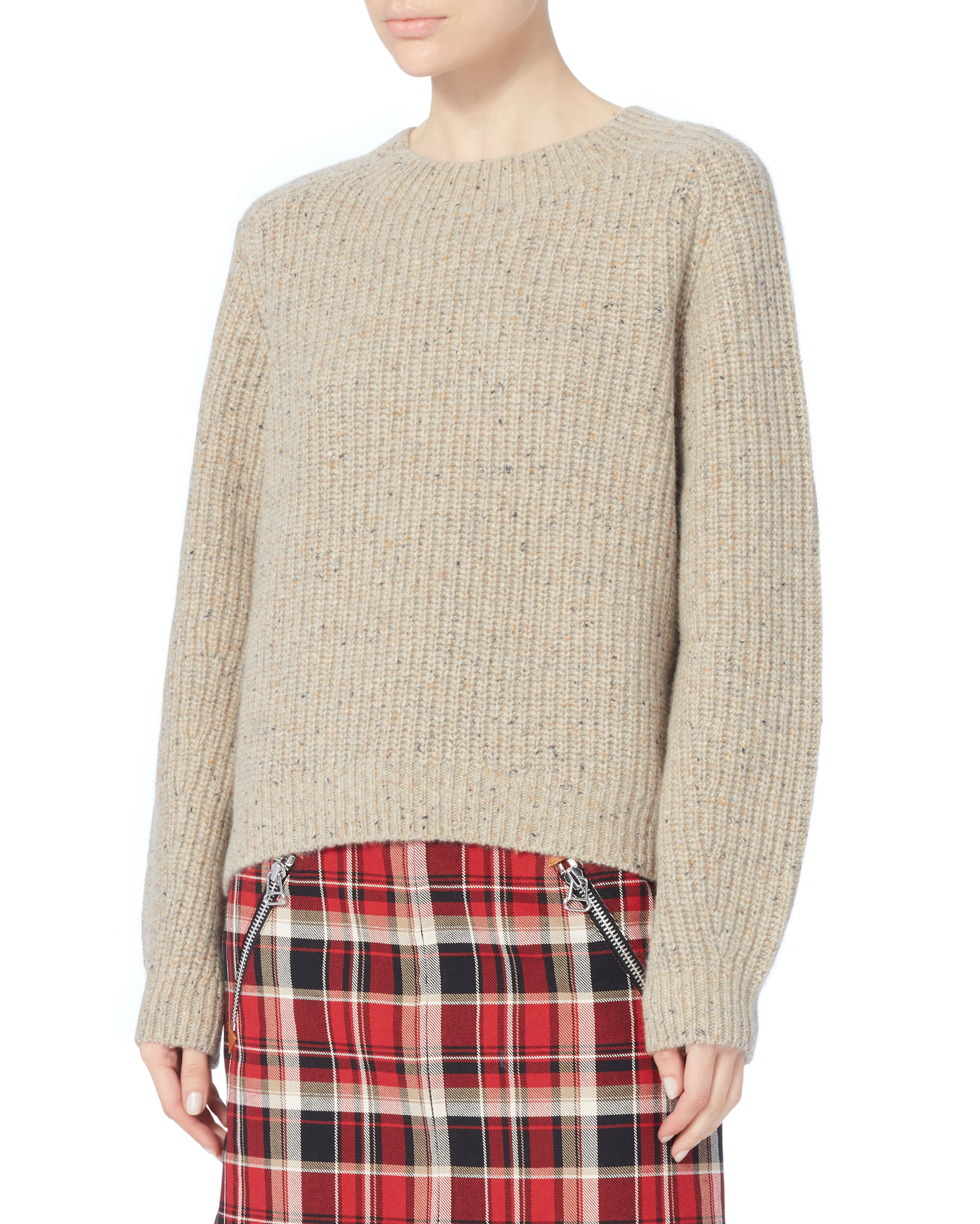 Saddle Pullover Cropped Sweater, IVORY, hi-res