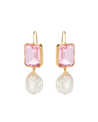 Aegean Pearl Drop Earrings, PINK, hi-res
