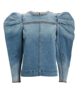 Nico Denim Puff Sleeve Top, MEDIUM WASH DENIM, hi-res