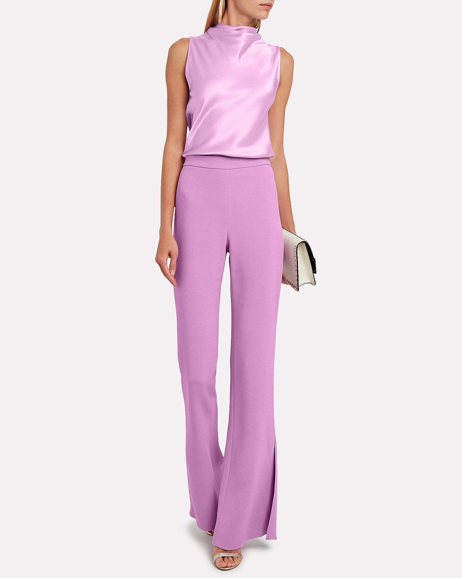 High-Waist Cady Flared Trousers, PURPLE-LT, hi-res