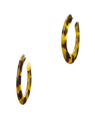 Kennedy Tortoise Acetate Hoops, BROWN, hi-res