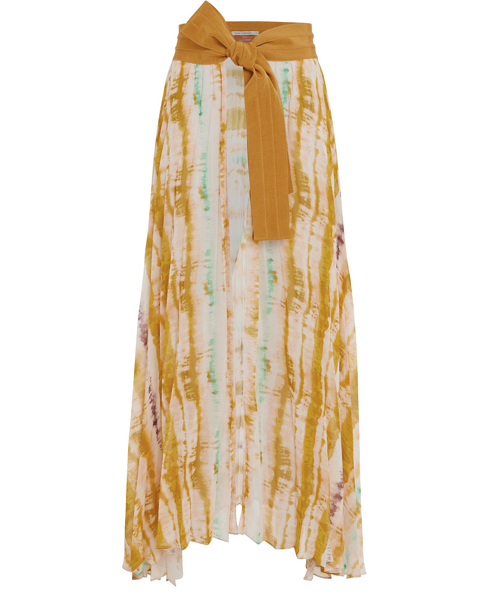 Blanche Watercolor Midi Apron Skirt, YELLOW, hi-res