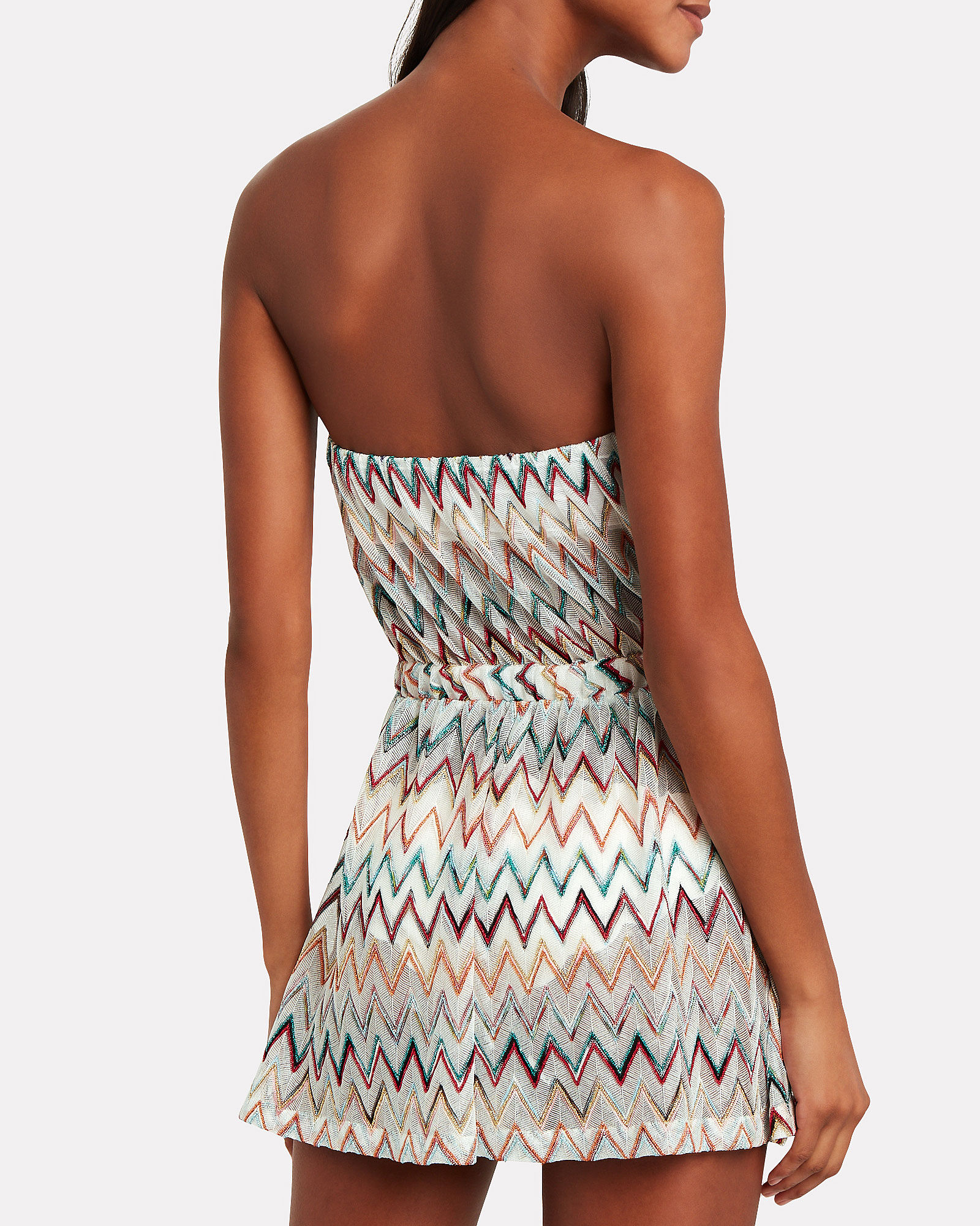 Chevron Knit Strapless Romper, WHITE/RAINBOW, hi-res