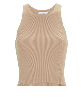 Elsie Cropped Rib Knit Tank Top, BROWN, hi-res