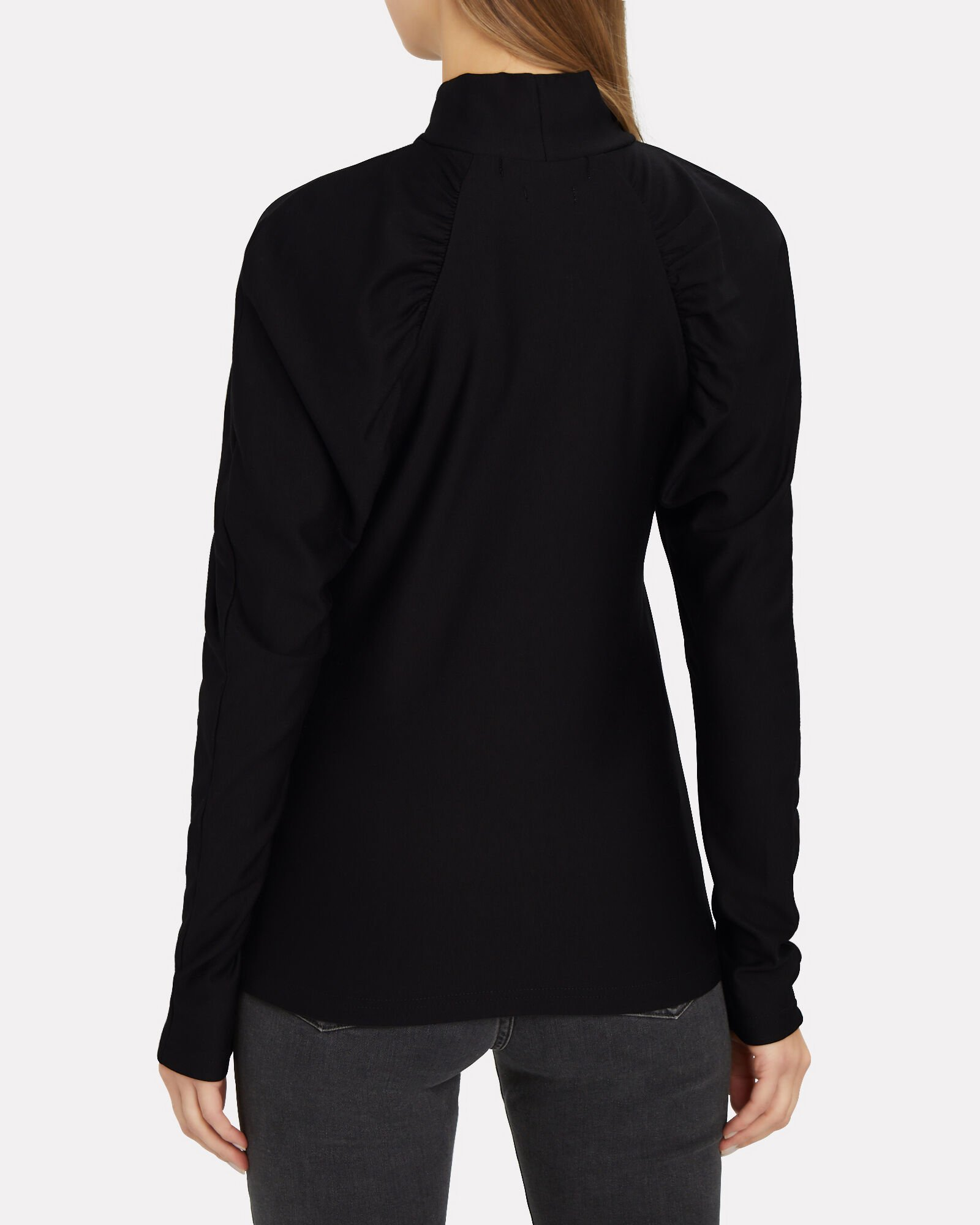 Rifa Gathered Turtleneck T-Shirt, BLACK, hi-res