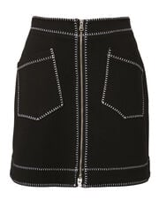 Contrast A-Line Mini Skirt, BLACK, hi-res
