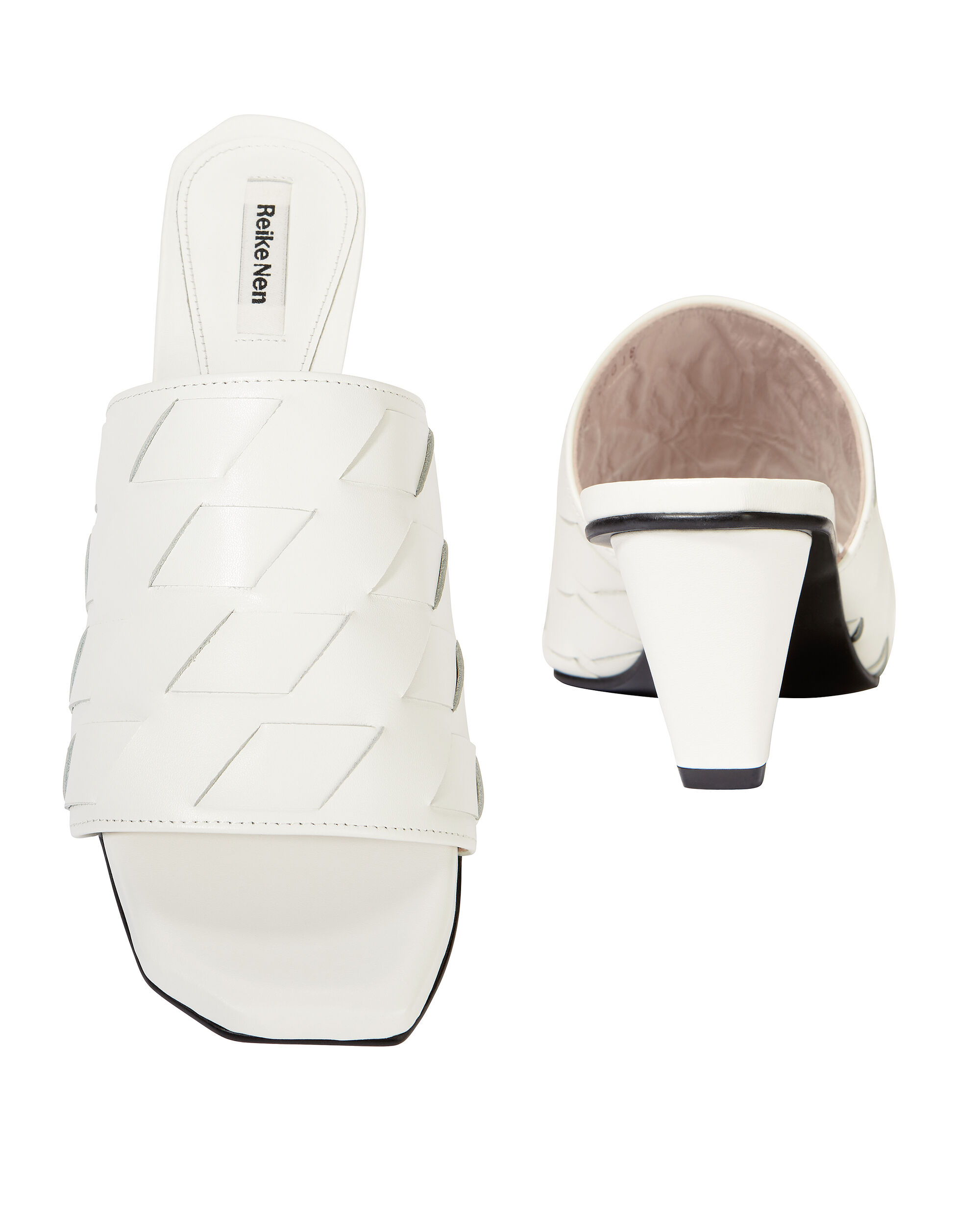 White Woven Leather Sandals, WHITE, hi-res
